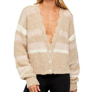 Free People brown fine time buttoned cardigan M